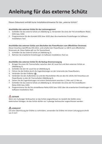 Anleitung für das externe Schütz Type - PDF ... - the PowerRouter