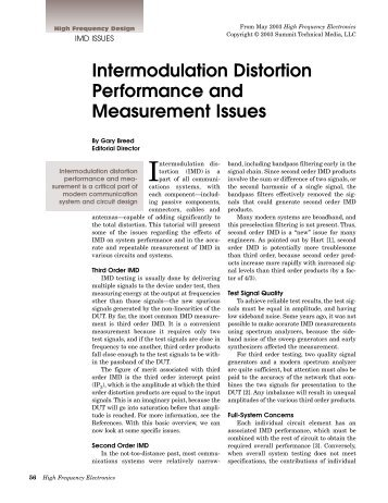 Intermodulation Distortion Performance and Measurement Issues