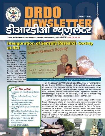 Vol. 30, Issue 10, October 2010 - DRDO