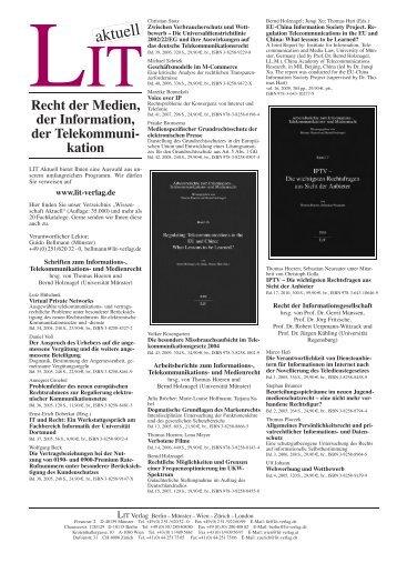 Recht der Medien, der Information, der Telekommuni - LIT Verlag