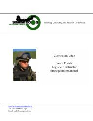 Wade Rorich C.V. - Strategos International