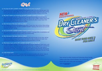 Q: How does the DRY CLEANER'S SECRET ... - In Stores Now