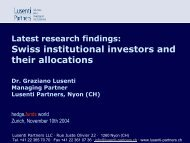 Swiss institutional investors and their allocations