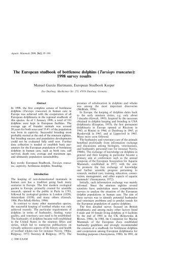The European studbook of bottlenose dolphins ... - Aquatic Mammals