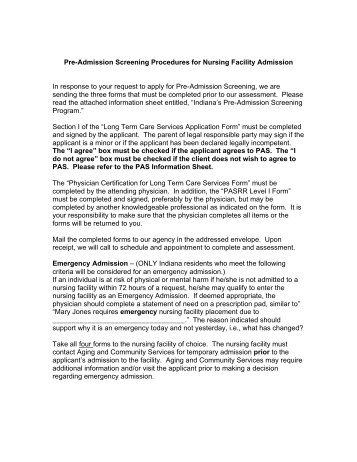 Pre-Admission Screening Procedures for Nursing Facility Admission ...