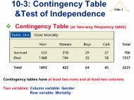 10-3: Contingency Table &Test of Independence