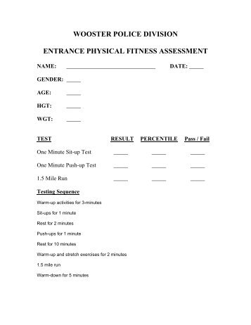 Fitness Assessment Form Name Last First Assessment Recsports