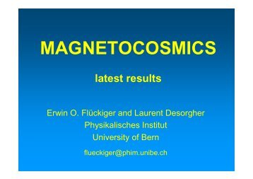 MAGNETOCOSMICS latest results