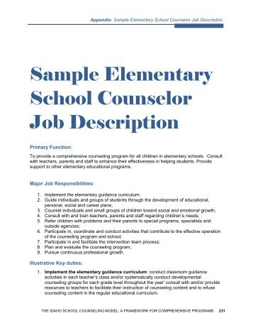 School Counselor Job Description. Overview Of School Based Mental ...