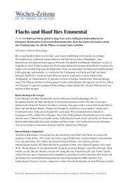 Flachs und Hanf fürs Emmental, Wochenzeitung - NIUTEX 2010