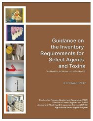 Guidance on the Inventory Requirements for Select Agents and Toxins