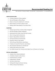 Recommended Reading List - Charlotte Christian School