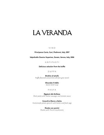 La Veranda Dinner Menu - Ask Mr. Cruise