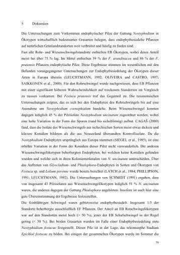 5 Diskussion Die Untersuchungen zum Vorkommen endophytischer ...