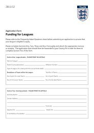 Funding for Leagues - The Football Association