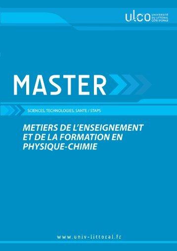Métiers de l'Enseignement & de la Formation en Physique-Chimie