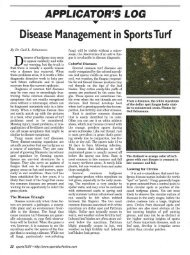 Applicator's Log: Disease Management in Sports Turf