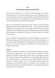 Vita Sascha Langner - Website zum Buch: Viral Marketing