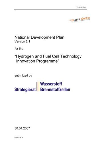 "National Development Plan ""Hydrogen and Fuel Cell ... - NOW"