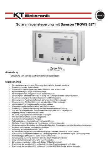 Typenblatt Solarsteuerung mit 5571 - KT-Elektronik