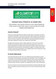 Cleantech messe i Finland 12.-13. oktober 2011 Hvorfor Finland ...