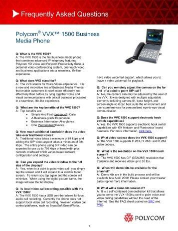 Polycom VVX 1500 General FAQs - 1 PC Network Inc