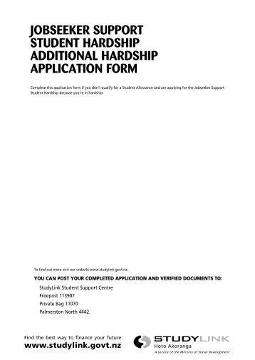 Additional hardship application - StudyLink