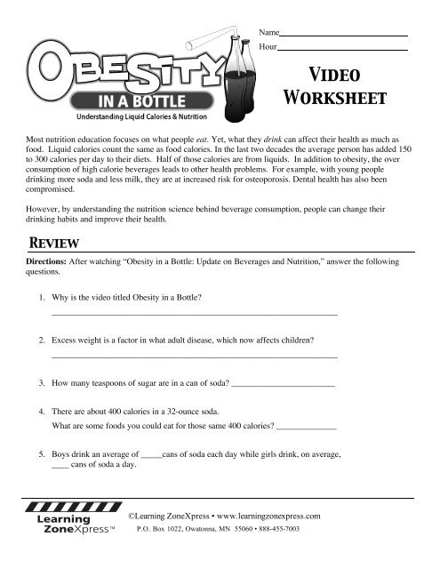 Obesity In A Bottle Worksheet - Promotiontablecovers