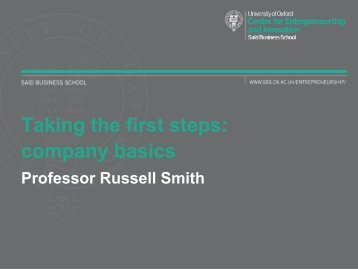 Taking the first steps - company basics - University of Oxford