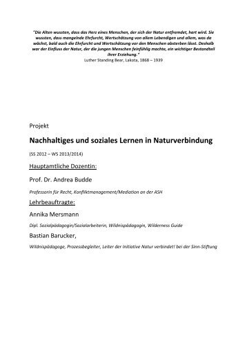 Nachhaltiges und soziales Lernen in Naturverbindung - Sinn-Stiftung