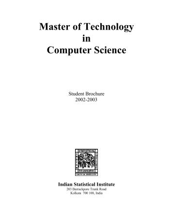 Master of Technology in Computer Science - Indian Statistical Institute