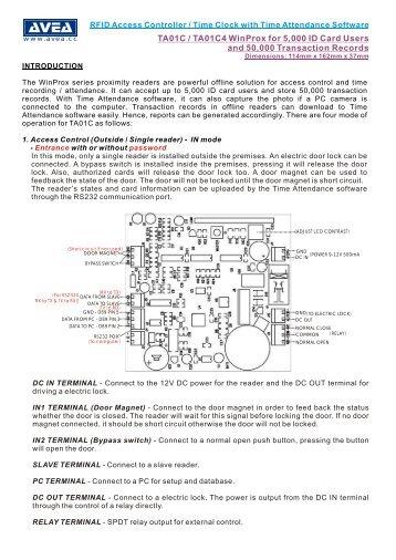 TA01C iProx Access Control / Time Clock for 5000 users ... - Avea.cc