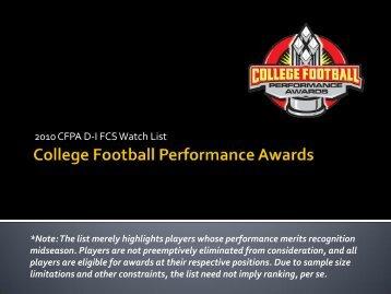 2010 CFPA D-I FCS Midseason Watch List - College Football ...