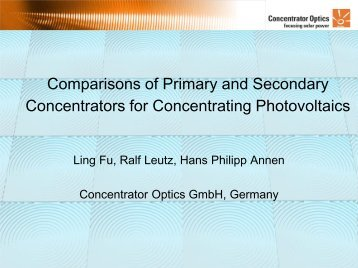 Comparisons of Primary and Secondary Concentrators for ...