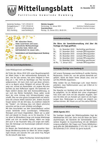 Mitteilungsblatt Nr. 24 - 16.12.2010 [PDF, 338 KB - Gemeinde ...