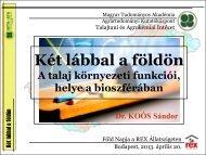 Dr. Koós Sándor előadása - MTA ATK TAKI