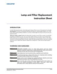 Lamp and Filter Replacement Instruction Sheet - Christie Digital ...