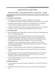 WISSENSCHAFTLICHES PROFIL PUBLIKATIONEN ...