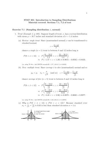 1 STAT 301: Introduction to Sampling Distributions Material covered ...