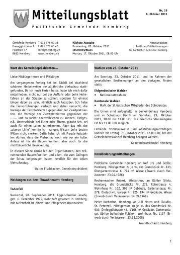 Mitteilungsblatt vom 06.10.2011 [PDF, 1.00 MB] - Gemeinde Hemberg