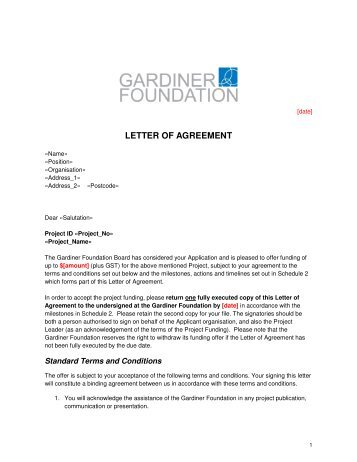 LETTER OF AGREEMENT - Gardiner Foundation