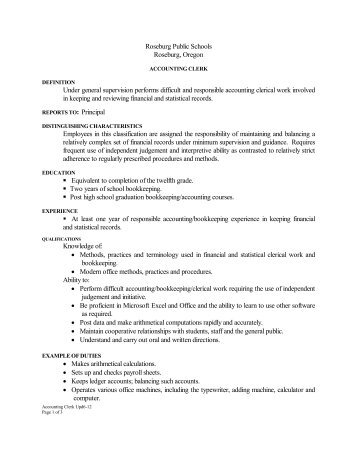 Accounting Clerk - Roseburg Public Schools