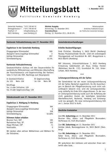 Mitteilungsblatt vom 1. Dezember [PDF, 540 KB] - Gemeinde Hemberg
