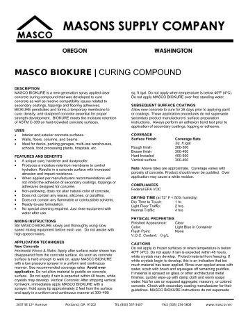 MASCO BIOKURE   CURING COMPOUND - masco.net