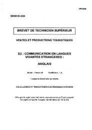 BREVET DE TECHNICIEN SUPÉRIEUR E2 ... - Bts Tourisme
