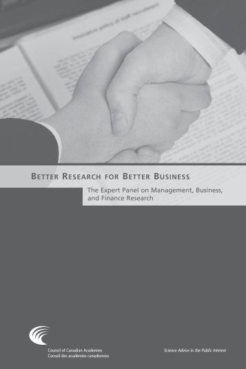 Better Research for Better Business - Council of Canadian Academies
