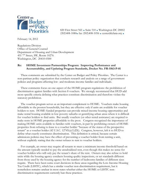 Center on Budget & Policy Priorities comments on proposed