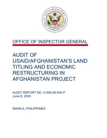audit of usaid/afghanistan's land titling and economic ... - part - usaid