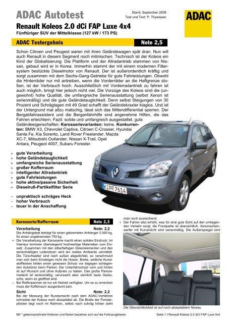umfassender test renault koleos 2.0 dci fap luxe 4x4 - adac