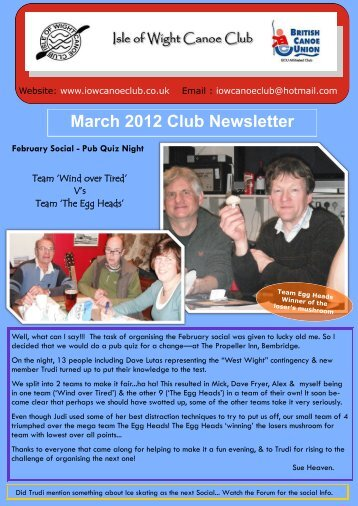 March 2012 Club Newsletter - IOW Canoe Club